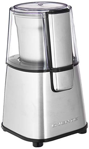 Ovente Multi-Purpose Electric Coffee Grinder, 200W, 2.1 oz, Lid-Activated Switch, Silver (CG620S), Nickel Brushed