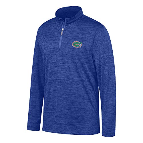 Top of the World NCAA Men's Florida Gators Team Color Space Dyed Poly Quarter Zip Pullover Royal -