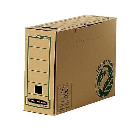 Fellowes 4471701 Boî te d'archives Banker Box Earth Series format folio montage manuel - Dos de 8cm Marron, Paquet de 20 Piè ces Paquet de 20 Pièces