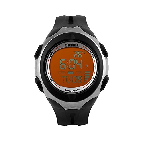 Thermometer Stopwatch Light Waterproof Date Alarm Digital LED Sport Wrist Watch Black&Orange (Polder Digital In Oven Thermometer Timer Graphite Color)