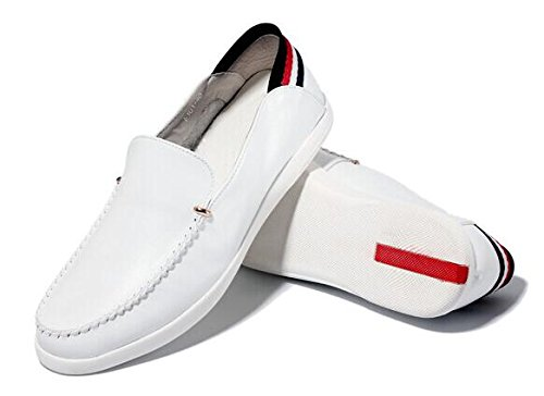 Happyshop (tm) Mocassino Casual Da Uomo In Pelle Con Mocassino Slip-on Mocassino Bianco