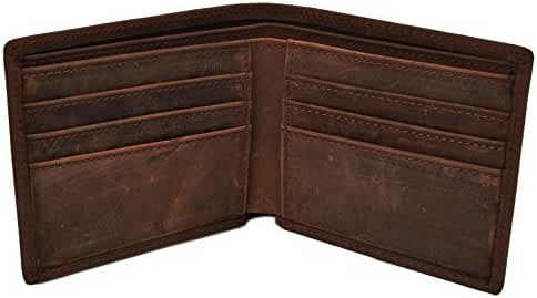 Woogwin Men's Wallet RFID Vintage Genuine Leather Slim Bifold Wallet Handmade