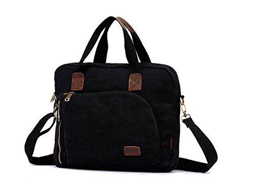Kry Ocio Único de mano hombre bolso bandolera Vintage Bolsa de lona para el trabajo y Compras, azul marino negro