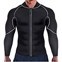 Ursexyly Men Exercise Sweat Hot Dress Shirt, Sauna Suit Neoprene Slimming Fitness Jacket Gym Wear for Core Muscle Training