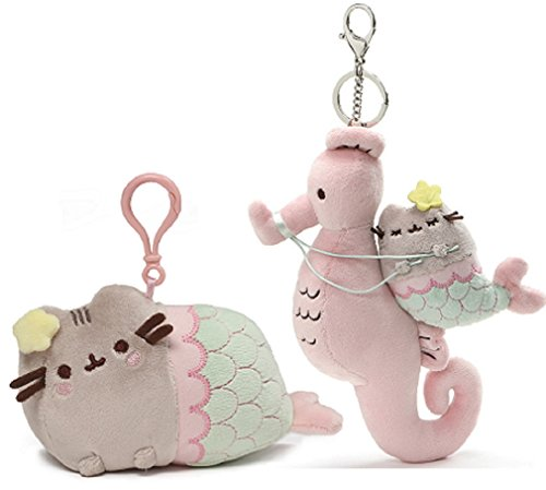 GUND Pusheen Mermaid Clip Bundle with Large Mermaid Pusheen Seahorse Keychain