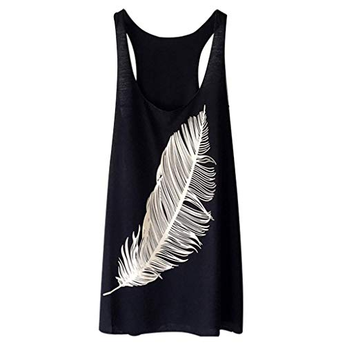HEJANG Women's Summer Ladies Casual Feather Print Long Vest Tops Blouse T-Shirt Fashion 2019 (S, Black)]()