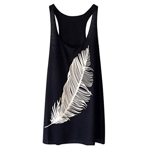 HEJANG Women's Summer Ladies Casual Feather Print Long