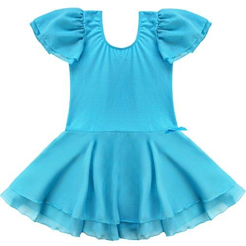 (TiaoBug Girls' Sheer Ruffle Short Sleeve Tutu Skirted Ballet Dress Gymnastic Leotard for Dance/Ballet/Trainning Size 3-4 Blue)