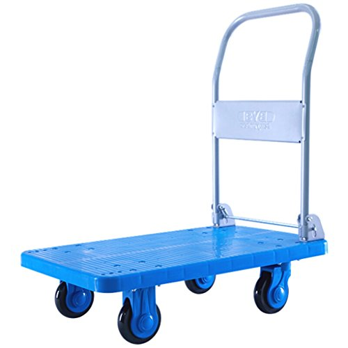 Medium Weight Trolley - RKY Utility Vehicle Plastic Van Medium 80x50cm Trolley Hand Truck Blue Flatbed Folding Trolleys Load 250KG Multi-function trolley (Color : Blue)