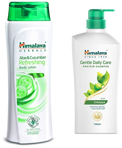 Himalaya Herbals Aloe and Cucumber Refreshing Body Lotion, 400ml and Himalaya Gentle Daily Care Protein Shampoo, 700ml