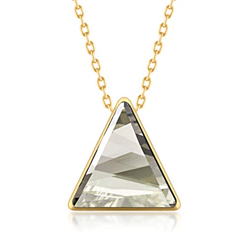 Ed Heart Pendant Necklace with Grey Silver Shade Triangle Crystals from Swarovski Gold Plated ()