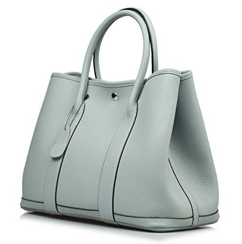 (Esyuel Women's Genuine Leather Garden Tote Bag Top Handle Handbags 36CM (Grey Blue), Large)