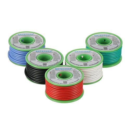 BNTECHGO Ultra Flexible 16 Gauge Silicone Wire Spool 5 Color Red, Black,White,Blue and Green High Resistant 200 deg C 600V Electronic Wire 16 AWG Stranded Wire 252 Strands Tinned Copper Wire Hook Up