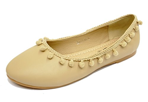 Arbeid Pumper 8 Skole Ballett Sko on Damene Comfy Slip Størrelser Flat 3 Ballerina Beige BxqASUwIA