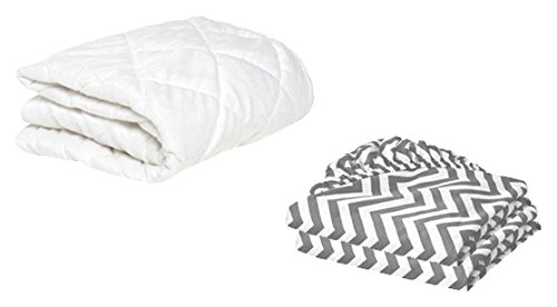 BKB Cradle Mattress Protector and 2 Chevron Sheets Combo, Grey, 18 x 36''