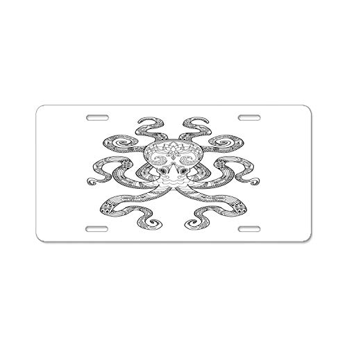 Pulongpoq Color Me Octopus - Aluminum License Plate, Front License Plate, Vanity Tag]()