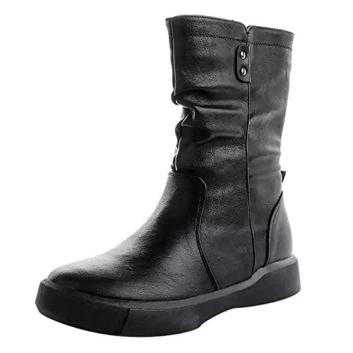 HYIRI Originals Snow Boots,Women's Leather Boots Flat Low Zipper Middle Tube Boots Casual Shoes ()