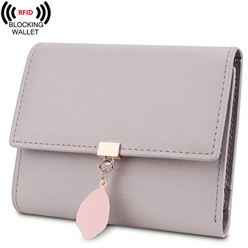 Yaluxe Small Wallet for Women RFID Blocking Genuine Leather Leaf Pendant Snap Card Holder Organizer Girls Zipper Coin Purse