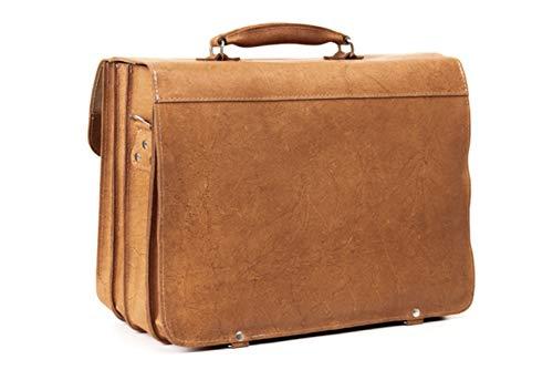 VOOC Läder Affärsväska för män Axelväska Portfölj Messenger Vintage Väska Laptop Väska Stor Arbetsväska Kontorsväskor för Män Axeldesigner Väska | Ljusbrun TC12
