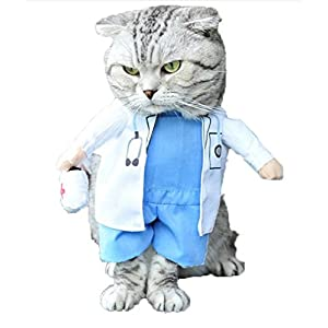 Mikayoo Pet Dog Cat Halloween Costume Doctor Nurse Costume Dog Jeans Clothes Cat Funny Apperal Outfit Uniform