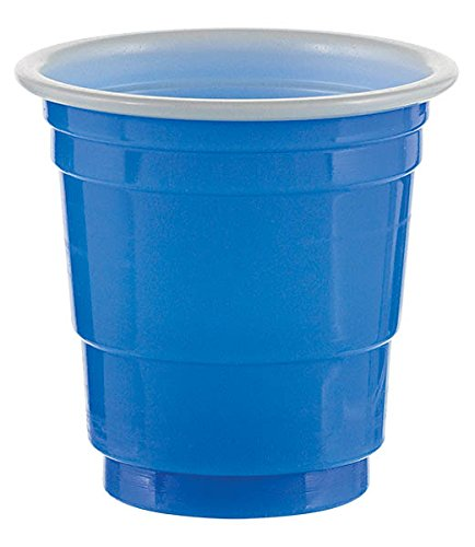 (2 Ounce Bright Royal Blue Plastic Shot Glasses 30-Pack Dishwasher Safe Amscan)