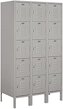 Gray Salsbury Industries 65358GY-U Five Tier Box Style 36-Inch Wide 5-Feet High 18-Inch Deep Unassembled Standard Metal Locker
