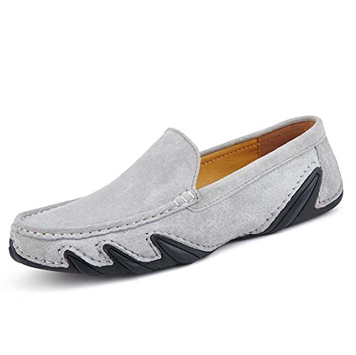 Pump Slip On Loafer Hombres Verano Transpirable Zapatos De Cuero Zapatos De Pedal Zapatos De Conducción Zapatos De Conducción Eu Tamaño 38-44 Gray