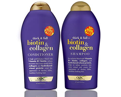 OGX (Thick & Full) Biotin & Collagen Shampoo + Conditioner 19.5oz, Duo-Set