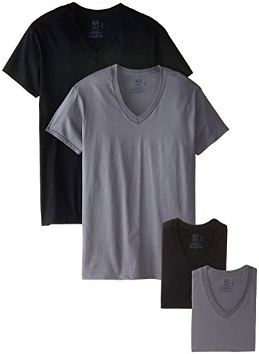 Fruit of the Loom Men's 4 Pack V-Neck T-Shirt, Black/Gray, Medium