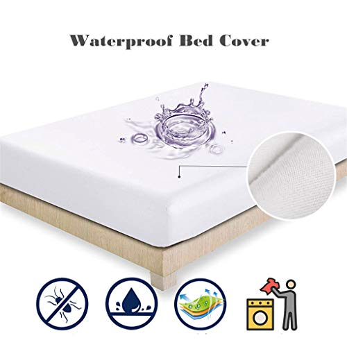 SayhrWaterproof Mattress Bedspread Hotel Solid Color Sanding Waterproof Bed Cover (A: Twin 99X190X36CM)