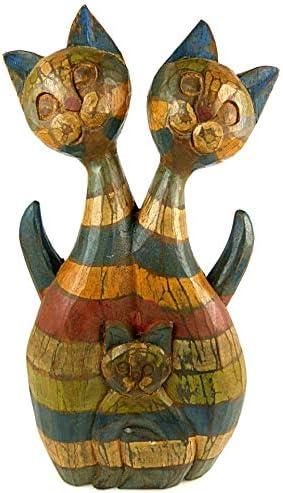 Estatua Familia 3 gatos en madera H40 cm. Creación hecho a mano.: Amazon.es: Hogar