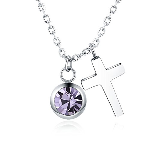 Vinjewelry February Birthstone Amethyst Necklace Religious Charm Cross Pendant - Cross Birthstone February