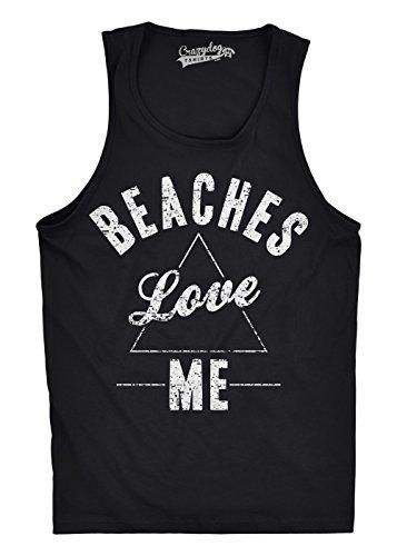 T-shirt Ringspun Sleeveless (Mens Beaches Love Me Funny Workout Sleeveless Summer Shirts Novetly Fitness Tank Top (Black) -L)