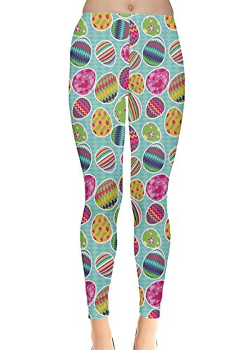 CowCow Womens Colorful Easter Eggs Pattern Leggings, Colorful 2 - S