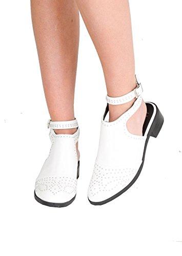 Lily's mit Boutique Weiß Stiefeletten Verzierte Damenschuhe Schnalle Detail 6r1q6vxw