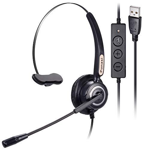 [해외]집에서 작동 콜 센터 스카이프에 대한 소음 취소 마이크 볼륨 제어 음소거 비즈니스 오피스 헤드셋 푸나시 USB 헤드셋 컴퓨터 헤드셋 8.2 피트 긴 코드 / Punasi USB Headset Computer Headset with Noise Cancelling Microphone Volume Control Mut...