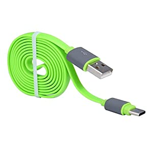 Aobiny USB 3.1 Type C Noodle Data Charging Cable for Oneplus 3 Three (Green)