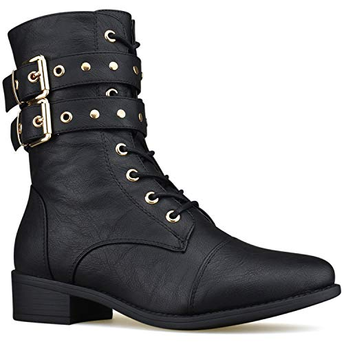 (Premier Standard - Strappy Buckle Lace Up Combat Mid-Calf Boots - Low Heel Side Zipper Comfortable Stacked Heel Boots, TPS Boots-1Aiffar Black Size)