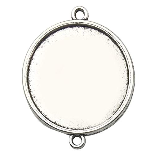 (30pcs 25mm Round Connector Pendant Trays, Single Sided, Antique Silver Tone, Fit 25mm Cabochon, Blank Base Setting Bezel Frame Cameo (C8293))