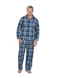 Mens Cargo Bay 100% Cotton Flannel Printed Long Sleeve Pyjamas Set