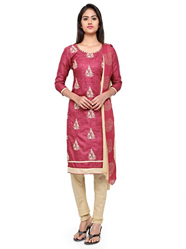 Kanchnar Women's Brown and Beige Bhagalpuri Cotton Embroidered Party Wear Unstitched Dress Material