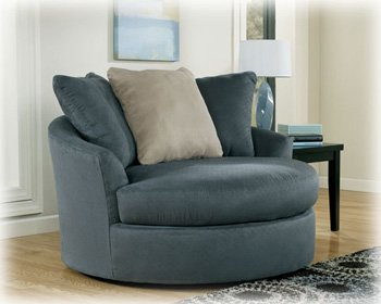 Amazon.com: Oversized Swivel Chair in ndigo Finish by Ashley ...