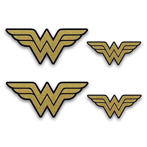 Metallic Gold Wonder Woman Emblem Stickers. 4 Pack of Decals (2 + 2). Superhero Decal - Two 5.5