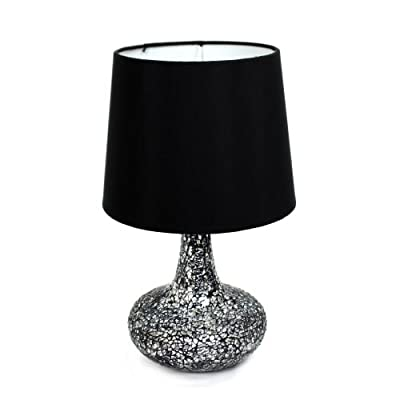 Simple Designs LT3039-RED Mosaic Tiled Glass Genie Table Lamp with Satin Look Fabric Shade, Red