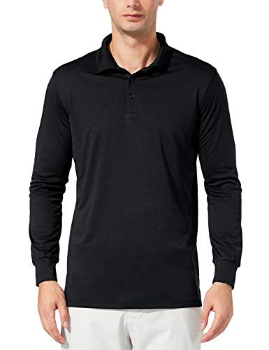 Baleaf Men's UPF 50+ Performance Quick Dry Golf Solid Polo Active Shirt Long Sleeve Black Size L -