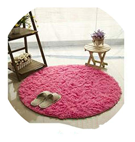(Gray Fluffy Round Rug Carpets for Living Room Kilim Faux Fur Carpet Kids Room Long Plush Rugs for Bedroom Shaggy Area Rug,Rose Red,Diameter 30cm)