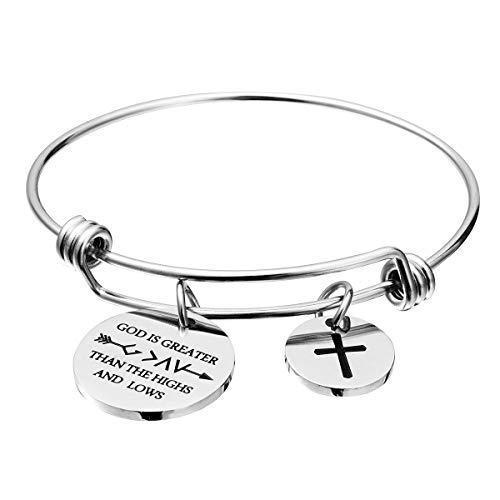omodofo Bible Verse Bangle Bracelet Cross Charm Confirmation Bracelet Scripture Jewelry (Romans 8:28)