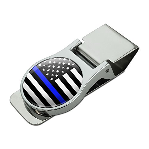 Chrome Plated Clip - Thin Blue Line American Flag Satin Chrome Plated Metal Money Clip
