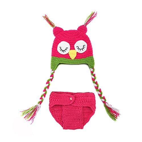 MSFS Baby Photography Props 36 Month Crochet Knitted Owl Hat Diaper Infant Christmas Gifts
