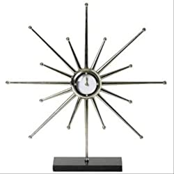 Mid Century Modern Star Burst Desk Clock | 22 Retro Sun Silver Metal Granite